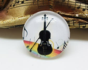 2 cabochons 20 mm glass music Instrument violin black-multicolored - 20 mm