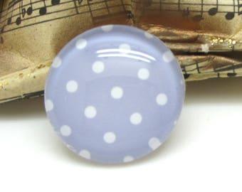 2 cabochons 12 mm glass purple Pastel polka dots - 12 mm