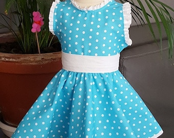 BABY DRESS. Blue polka dot cotton white. HAND MADE