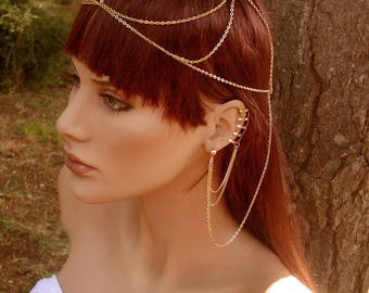 Head jewel earrings Phea head chain