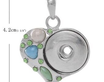 1 piece rhinestone clasp snap DIY 4.2x3.1cm Pr green heart pendant