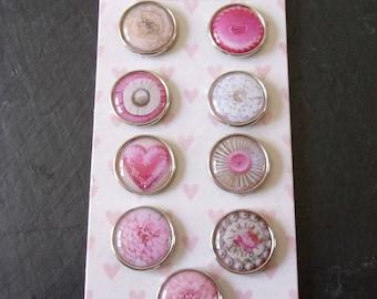 Lot 9 fasteners (brads) Parisian color round pink 2 cm
