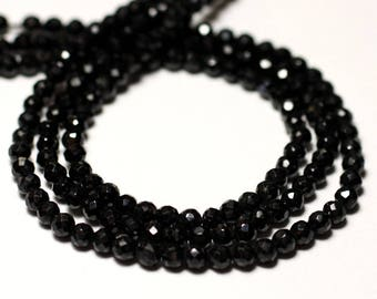 10pc - stone beads - black spinel 3-4mm faceted balls