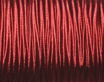Reel 45 metres approx - cord lanyard fabric Satin Soutache 2.5 mm Bordeaux Red