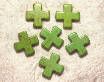 2PC - cross 30mm Green 4558550029348 synthetic Turquoise beads