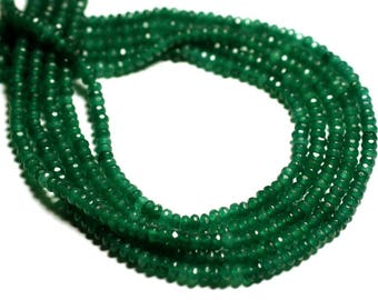 30pc - beads - faceted Rondelle 4x2mm Pine Green Jade - stone 4558550085573