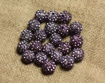 10pc - 8mm purple glass rhinestone and Pearl polymer and Mauve 4558550022721