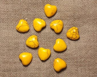 10pc - beads Turquoise synthetic hearts 11 mm yellow 4558550031532