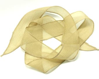 1pc - dyed silk ribbon necklace to 85 x 2.5 cm yellow Beige (ref SOIE112) 4558550003379