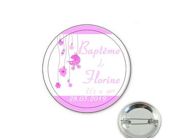 Baptism girl badge with custom 32mm