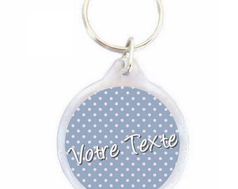 Keychain with blue polka dots personalized 40mm - christening