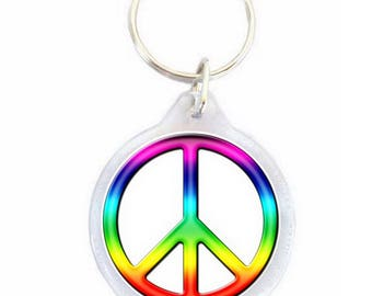 Keychain, Peace and Love colorful Ø40mm
