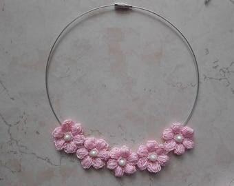 Crochet jewelry rose flower