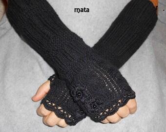 Knitted Fingerless Mittens Long,Long Fingerless Gloves