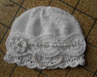 baby's girl white hat/baby gift/lace newborn bonnet/newborn photo hat/baby crochet bonnet/newborn girl knit hat