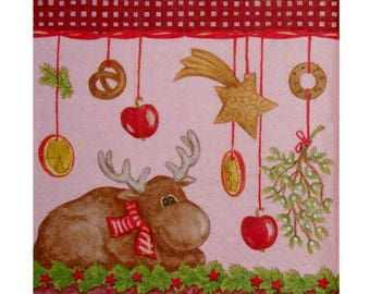 Set of 3 paper napkins NOE029 reindeer and Christmas decorations