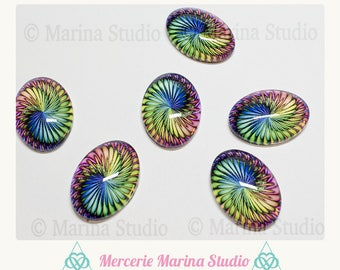 Style psychedelic 25x18mm oval cabochon pictured