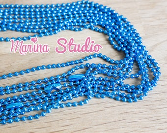 Turquoise chain necklace with lobster clasp 70cm 2.4 mm ball