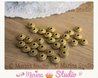 10 Golden beads saucer gold gilt ms29001 8mm