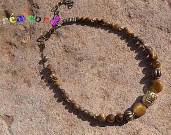 original and adjustable ankle bracelet handmade natural stone Tiger eye