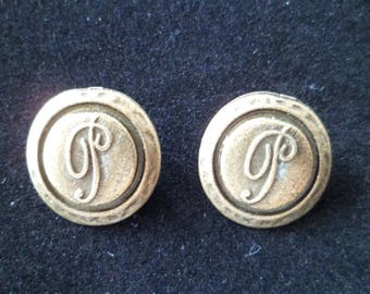 5 buttons 17 mm Metal 17 mm Bronze color stitching