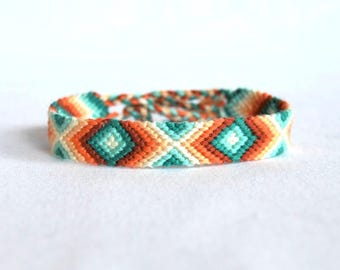Green orange Friendship Bracelet patterns geometric diamond graphics Brasilda hippie bracelet