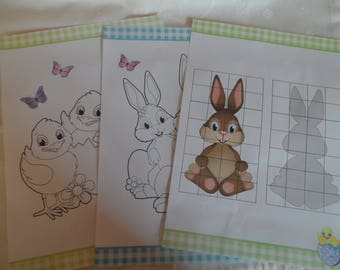 coloring and children pattern animals theme Easter