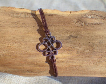Fine cotton, Brown and silver bracelet