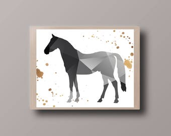 Black Geometric Horse Print, Gold Foil Horse, Gold Splash, Animal Print, Nursery Print, Geometric Printable, Black Triangle, Hipster Print,