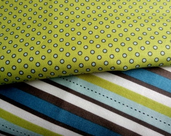 """Fabrics by Riley Blake matching """"Pirate Matey's"""" 2 fabrics with stripes and dots sold by 20 cm"""