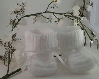 PAIR OF WHITE FOR NEWBORN CHRISTENING SLIPPERS