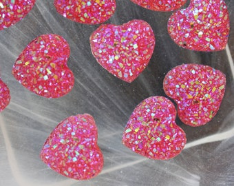 set of 2 pink glitter hearts cabochon scrapbooking