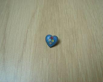 clear blue glass paste floral button
