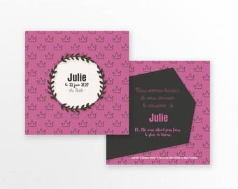Girl birth announcement - to personalize - model Julie