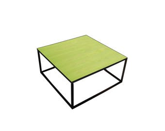 Colorful wood and steel coffee table with a fun design