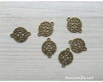 bronze 6 filigree connectors 18 x 24 mm