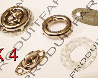 Set of 4 Binder Twist turnstile clasp 17 * 33 mm Chrome clutch bag frame