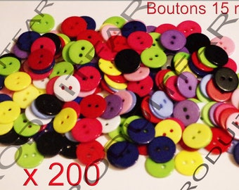 200 buttons 15 mm 2 hole resin blue pink white yellow red green colors.