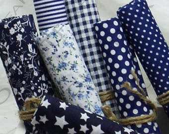 Coupon fabric cotton set of 7 45 x 50 cm Patchwork sewing dark blue tones