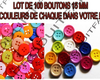Set of 100 buttons 15 mm 4 hole resin 13 colours blue pink white yellow red green etc...