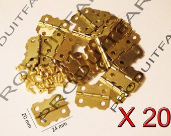 Set of 20 medium gold hinges for jewelry box chest box matching screw 20 * 24 mm