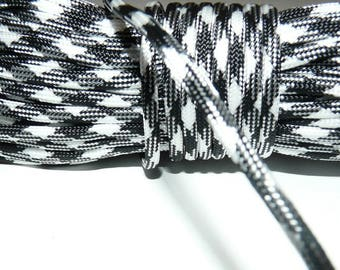 Black and white 550 paracord rope 4 mm 7 strand by the yard
