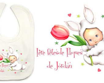 White Easter baby bib personalized with the name of your choice
