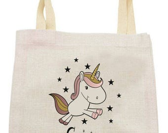 "TOTE BAG in linen ""tonight I'm going into a Unicorn"""