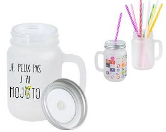 "GLASS MASON JAR glass with straw ""I can't I mojito"""