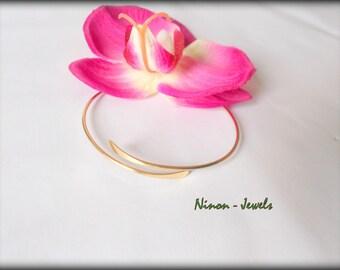 Adjustable 14 K gold plated Bangle Bracelet