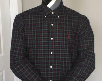 Polo Ralph Lauren-Oxford Long Sleeve Button Down-Red Green Checkered