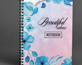 Beautiful Notebook Gift Notepad Engagnment Gift Spiral Notebook A5 Notepad Skretchbook Floral Notebook A4 Notepad Piones Notebook Lined Page