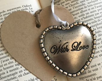 """Large vintage metal heart """"with Love"""""""