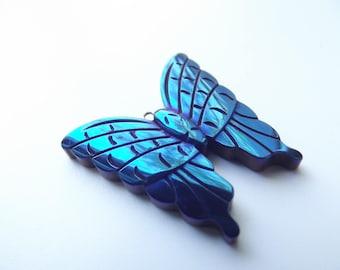 Butterfly blue titanium hematite pendant carved STAR-195